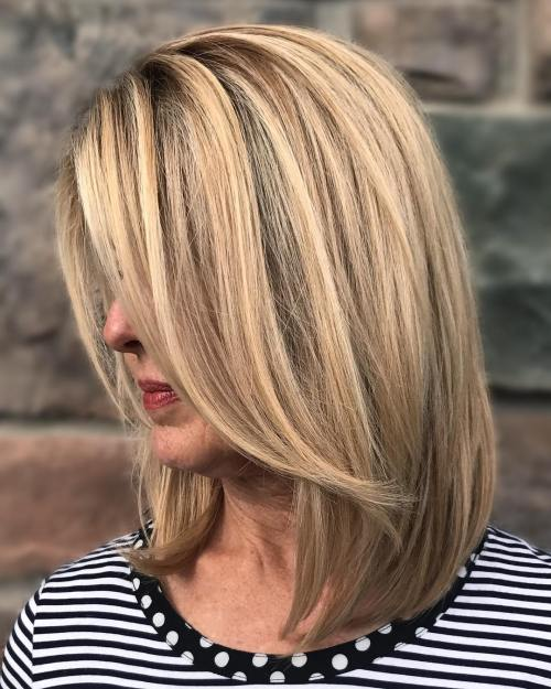 Blunt Collarbone-Length Cut  For Women Over 40