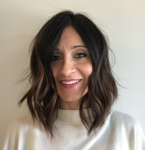 Wavy Lob With Highlights For Older Women