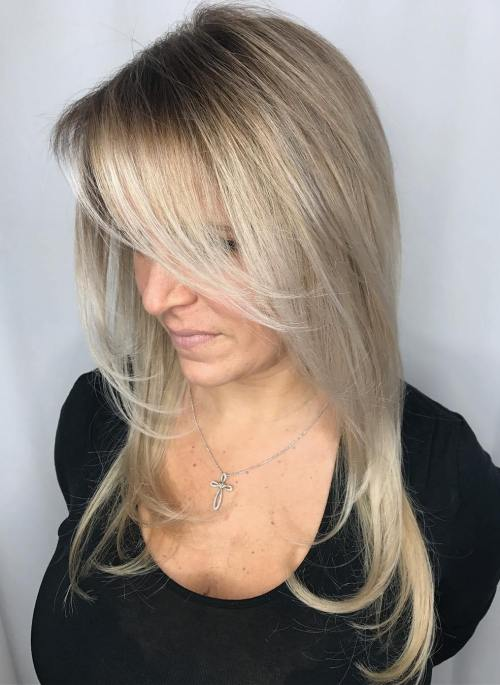 Long Platinum Hair With Side Bangs