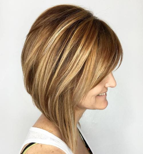 Graduated A-Line Bob With Highlights