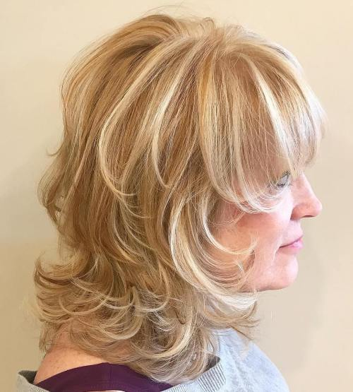 Heavily Layered Haistyle With Flipped Ends