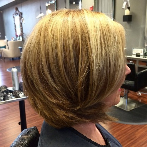 Layered Bob For Older Women With Thick Hair