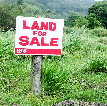 land for sale sign in grassy lot