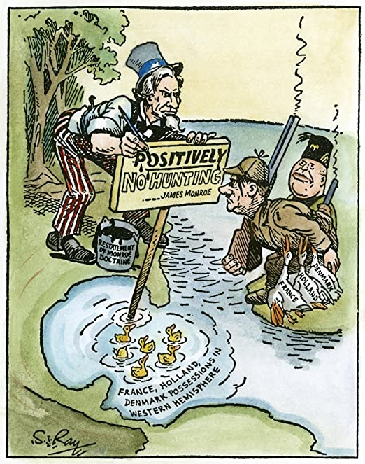 The Monroe Doctrine caricature depicting the Anglo-American Relations by F. Victor Gillam in 1896.