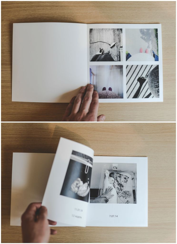 minimalistic photo album with pictures and memories in black and white