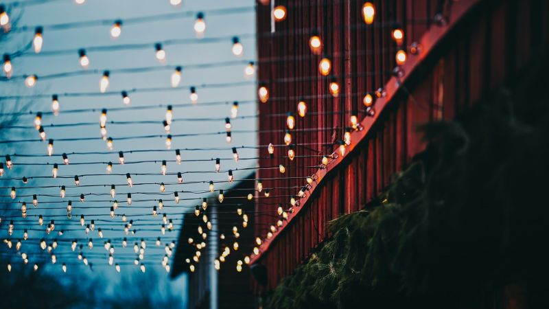 Fairy lights against winter sky for the festive holiday time