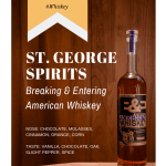 Bottle of St. George Breaking & Entering American Whiskey on wood background.