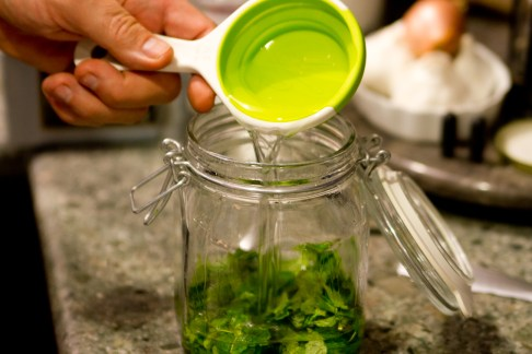 DIY Creme de Menthe, Part 5: Combining Vodka and Mint