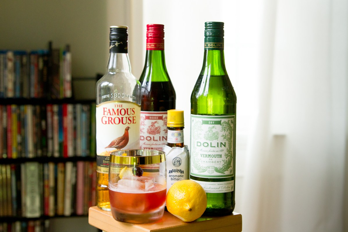 The Affinity Cocktail Scotch Sweet Vermouth Dry Vermouth Angostura Bitters Lemon