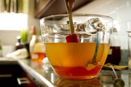 DIY Forbidden Fruit Liqueur -- Sweetening