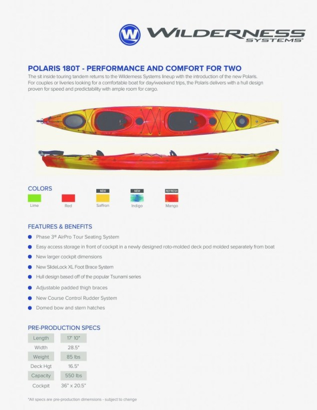 Tandem Kayak, Polaris, Wilderness Systems,