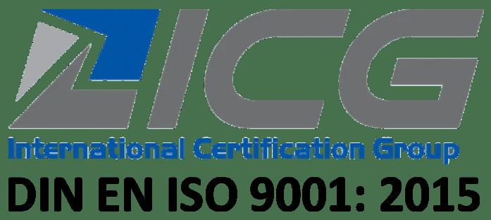 Logo der ICG und ISO Angabe: DIN EN ISO 9001: 2015