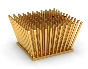 A coated pin fin heat sink that may be used for thermoelectric design and simulation