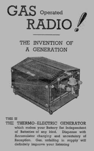 Natural gas powered thermoelectric generator