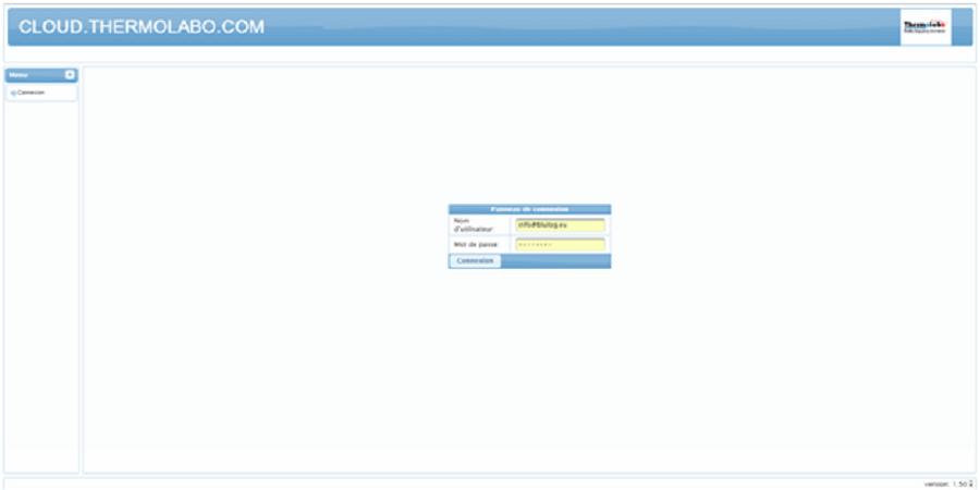 Ecran d'accueil de l'espace cloud de gestion des données de temperature