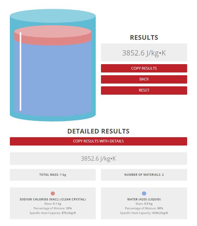 Specific heat capacity of saltwater mixture