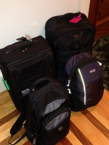 Our packed carry-ons. Not shown: 45-pound box!