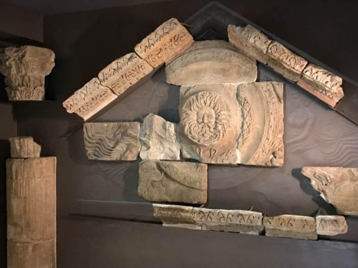 Roman Baths temple pediment in Bath