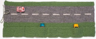 Straight road roll up with pockets for cars knitting pattern