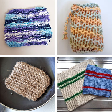 Eco-friendly wipes, soap saver, scrubber and dishcloths knitting patterns