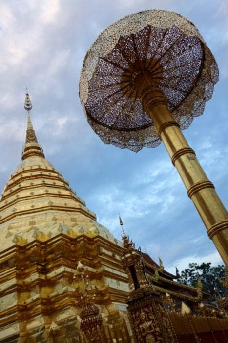 A guide to Chiang Mai: The amazing and adventure filled Thai city that instantly felt like home, Chiang Mai things to do, Doi Suthep, views, Elephants, elephant trekking, Elephant no riding, Elephant sanctuary, zipline, zip lining, jungle, gibbons, flight of the gibbon, temples, hiking, homestay, trekking, rent a scooter, rent a motorbike, pai, how to get to Pai from Chiang Mai, Mekong slow boat, Laos, Chiang Rai, Wat Suan Dok, Wat Pan Tao, Wat Pansao, Wat Lok Malee, Wat Sri Suphan, Wat Chiang Man, Wat Jet Yot, pad Thai, vegetarian food, markets, night market, Chiang Mai guide, what to do in Chiang Mai, Bangkok to Chiang Mai, monks trail,