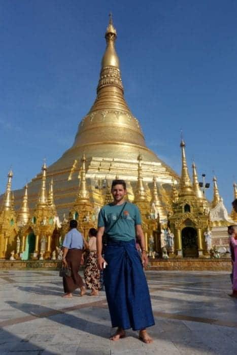 Strolling around the awe inspiring Shwedagon pagoda, Yangon, Myanmar, Burma, shwedagon paya, Bagan, Inle, Buddhism, monk, What to wear at the Shwedagon pagoda, cost, Burma tours, long pants, trousers, longyi,