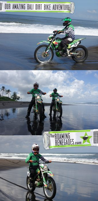 Dirt biking along the black sand beaches of Bali, a different way to spend the day at the beach! > https://theroamingrenegades.com/2017/09/bali-dirt-bike-indonesia.html