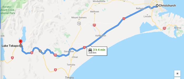 Map, route, Christchurch to Lake Tekapo, Lake pukaki, Mt Cook, Mount Cook, day trips from Christchurch, Mackenzie Basin, things to do in Lake Tekapo, Things to do in Lake Pukaki, Milky Way, clear sky reserve, Hiking at Lake Tekapo, New Zealand, South Island,