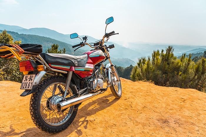 Motorbike overlooking the mountain in Dalat. 3 weeks in Vietnam, Vietnam itinerary: 3 weeks, 3 week Vietnam itinerary
