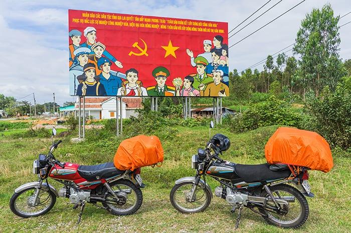 Communist propaganda and motorbikes in Vietnam. 3 weeks in Vietnam, Vietnam itinerary: 3 weeks, 3 week Vietnam itinerary