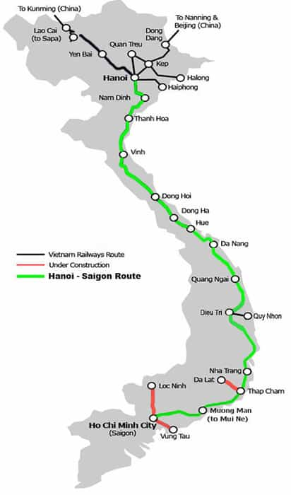 Vietnam train map. 3 weeks in Vietnam, Vietnam itinerary: 3 weeks, 3 week Vietnam itinerary