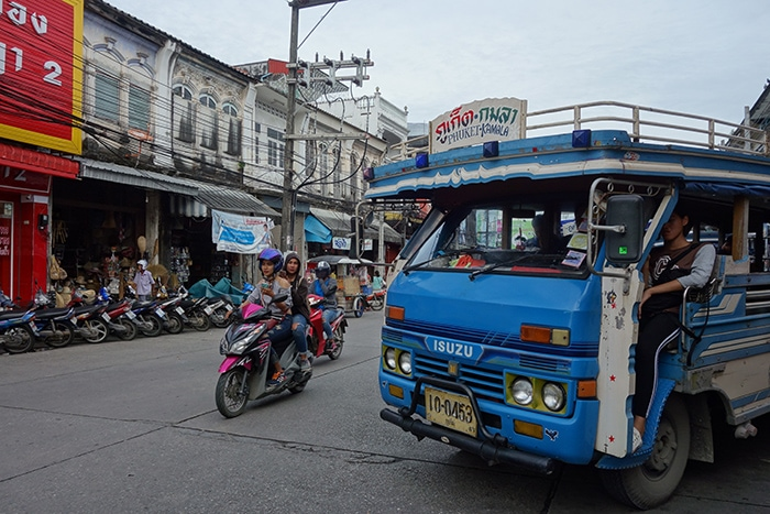 Local song thaew buses, (Phuket backpacking guide, budget Phuket, Phuket backpacker, Backpackers guide to Phuket, Phuket backpacker hostel, Best area to stay in Phuket, backpacking Thailand)