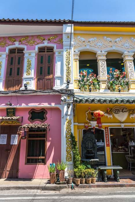 Colourful facades of Phuket Old town, (Phuket backpacking guide, budget Phuket, Phuket backpacker, Backpackers guide to Phuket, Phuket backpacker hostel, Best area to stay in Phuket, backpacking Thailand)