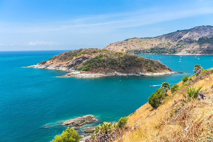 The viewpoint over the rugged coastline and Promthep Cape, (Phuket backpacking guide, budget Phuket, Phuket backpacker, Backpackers guide to Phuket, Phuket backpacker hostel, Best area to stay in Phuket, backpacking Thailand)