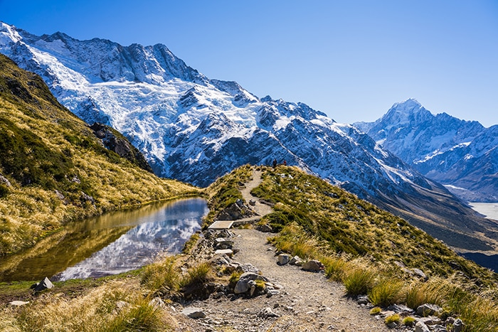 Mt Cook national park and the tasman glacier from the sealy tarn track (day trips from Christchurch, Christchurch day trips, places to visit near Christchurch, things to do in Canterbury New Zealand, visit Christchurch)