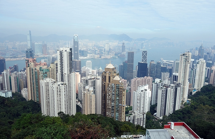 The view over the tall buildings at Victoria Peak, Backpacking in Hong Kong for backpackers, Backpackers guide to Hong Kong, Hong Kong on a budget trip