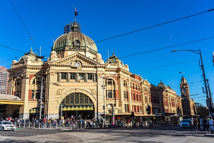 Flinders street station in Melbourne, Victoria. (Backpacking in Australia, Working and travelling in Australia, Cheap domestic flights Australia, Backpacking in Australia, Travel tips for Australia, Trip around Australia, Budget travel in Australia, Travelling in Australia budget, Backpacking Australia on a budget, Australia backpacking guide, Backpacking Australia budget, Backpacker budget Australia)