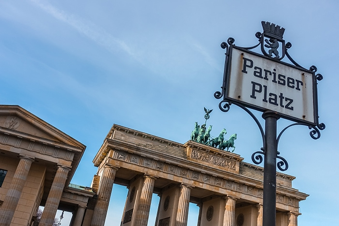 Pariser Platz sign and the brandenburg gate. (2 days in Berlin, Things to do in Berlin, 2 days in Berlin itinerary, Berlin 2 days itinerary, Berlin in two days, 48 hours in Berlin itinerary, What to do in Berlin in 2 days, Berlin 2 days, Things to do in Berlin, backpacking Berlin, cheap, budget Berlin, Germany)