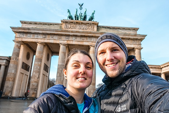 A selfie at the Brandenburg Gate (2 days in Berlin, Things to do in Berlin, 2 days in Berlin itinerary, Berlin 2 days itinerary, Berlin in two days, 48 hours in Berlin itinerary, What to do in Berlin in 2 days, Berlin 2 days, Things to do in Berlin, backpacking Berlin, cheap, budget Berlin, Germany)