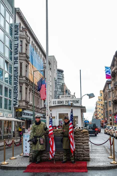 two American soldiers at Checkpoint Charlie (2 days in Berlin, Things to do in Berlin, 2 days in Berlin itinerary, Berlin 2 days itinerary, Berlin in two days, 48 hours in Berlin itinerary, What to do in Berlin in 2 days, Berlin 2 days, Things to do in Berlin, backpacking Berlin, cheap, budget Berlin, Germany)