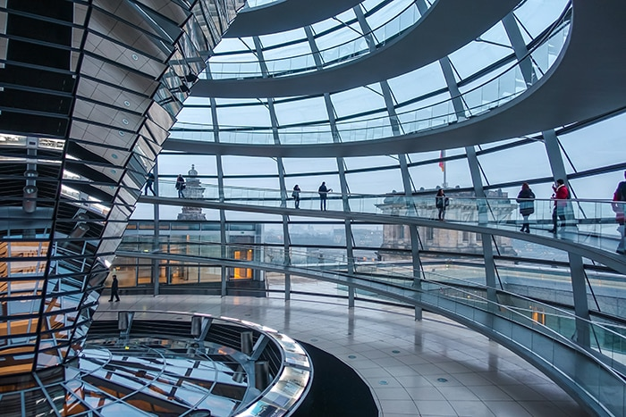 Inside the modern glass dome of the Reichstag (2 days in Berlin, Things to do in Berlin, 2 days in Berlin itinerary, Berlin 2 days itinerary, Berlin in two days, 48 hours in Berlin itinerary, What to do in Berlin in 2 days, Berlin 2 days, Things to do in Berlin, backpacking Berlin, cheap, budget Berlin, Germany)