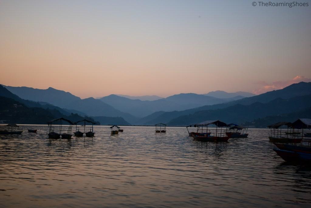 Fewa lake in the evening