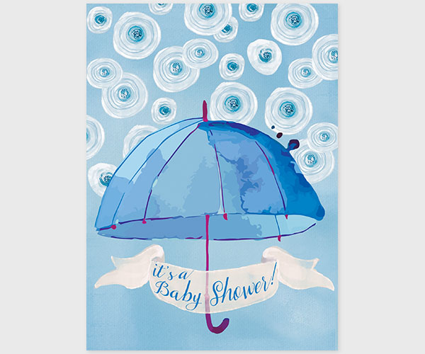 The Catherine Blue White Watercolor Umbrella Baby Shower Invitations