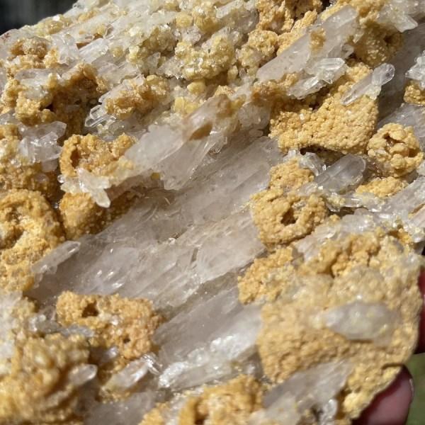 unique elestial clear quartz in matrix cluster from Brazil