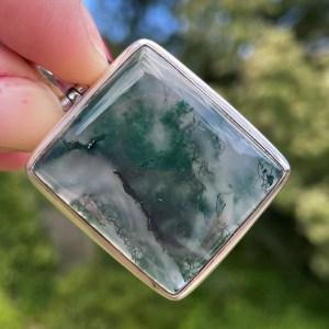 buy Moss Agate Silver Pendant in Australia