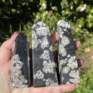 Snowflake Obsidian obelisks from Pakistan