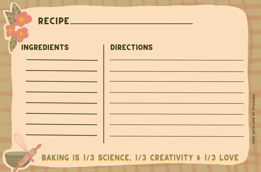 Here's a Non- Anthro Freebie! Fall Recipe Card Download