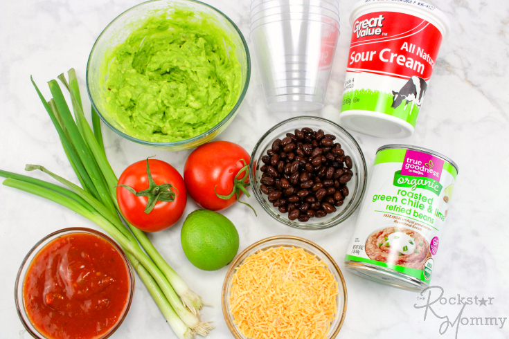 Mexican Bean Dip Cups - Ingredients on a table
