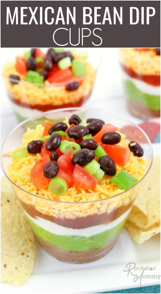 Mexican Bean Dip Cups RECIPE -- The Rockstar Mommy -