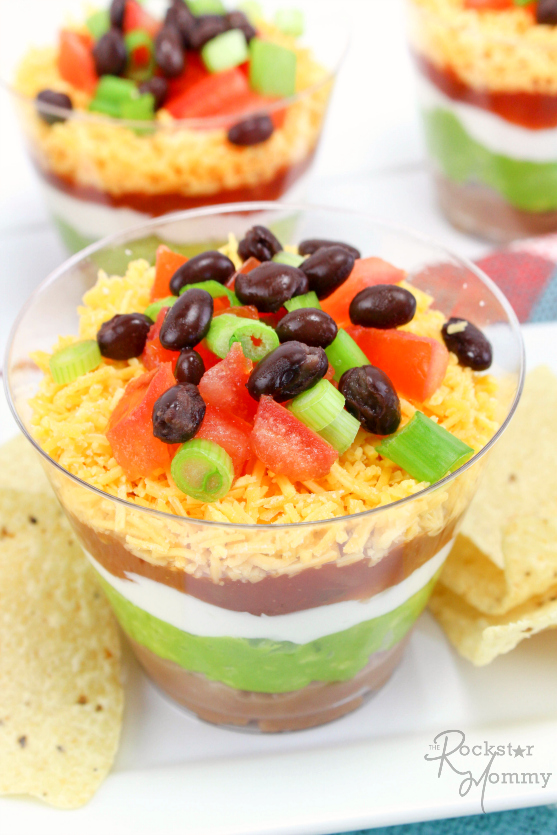 Mexican Bean Dip Cups Recipe -- The Rockstar Mommy